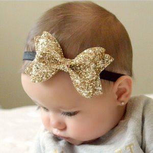 Other - Olivia gold or bronze glitter bow